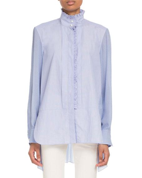Chloe Stand-Collar Ruffled Long-Sleeve Mixed-Media Shirt