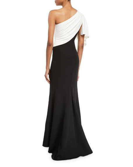 Colorblocked Draped Gown with Brooch Shoulder