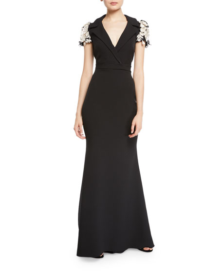 Badgley Mischka Couture Collared Embellished-Sleeve Gown