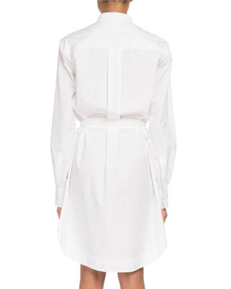 Eyelet Long-Sleeve Button-Front Cotton Poplin Shirtdress