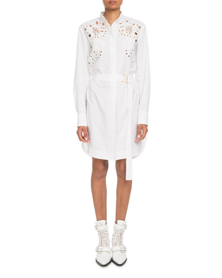Chloe Eyelet Long-Sleeve Button-Front Cotton Poplin Shirtdress