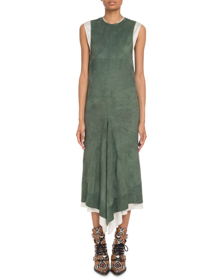 Crewneck Sleeveless Suede Midi Dress w/ Poplin Combo