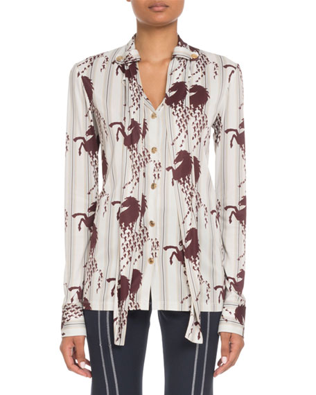 Image 1 of 1: Long-Sleeve Button-Front Horse-Print Viscose Jersey Blouse
