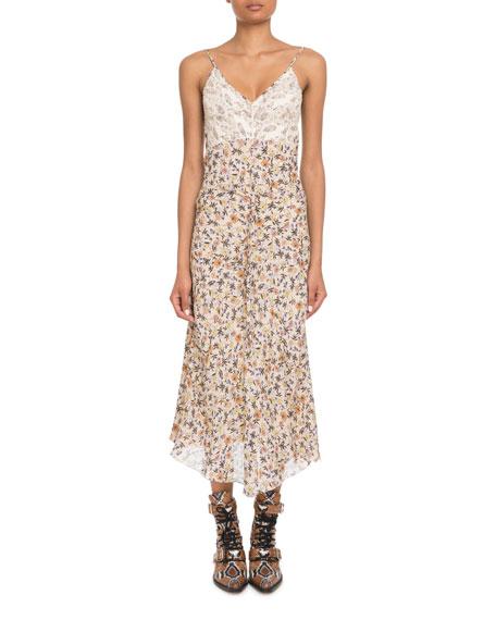 V-Neck Lace-Bodice Sleeveless Floral-Print Long Dress