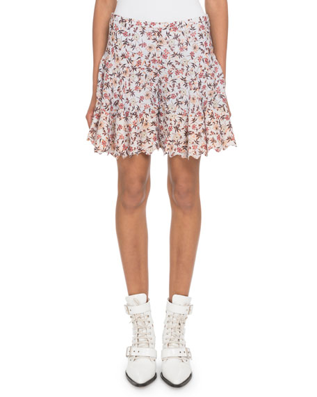 Scalloped Floral-Print Georgette Shorts in White