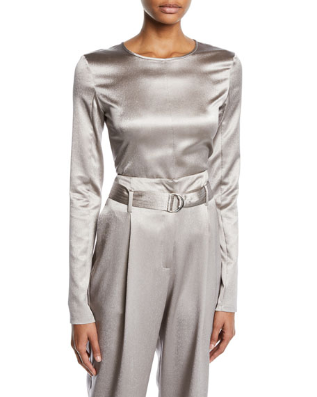 Crewneck Long-Sleeve Fitted Metallic Stretch-Silk Top