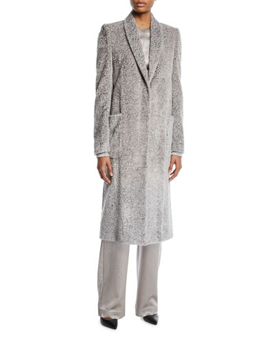 Shawl-Collar Pebbled-Velvet Long Coat