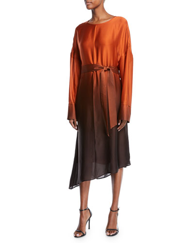 Ombre-Silk Crewneck Belted Long-Sleeve Midi Dress