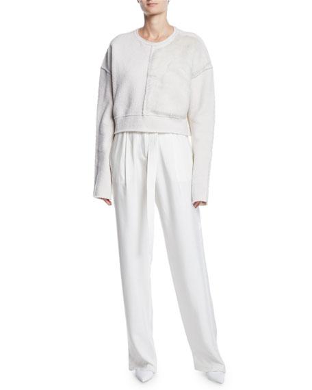 d039fdc800f36 Sally LaPointe Belted High-Waist Wide-Leg Silk Pants