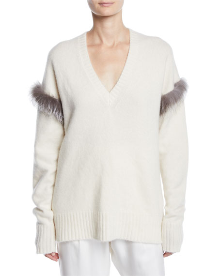 Sally LaPointe Fur-Trim V-Neck Cashmere-Silk Pullover Sweater