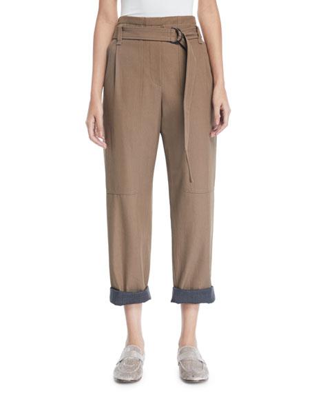 Brunello Cucinelli Contrast Roll-Cuff Wool-Gabardine Straight-Leg
