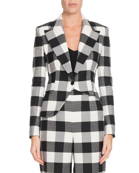 Altuzarra Lazio One-Button Asymmetric Macro Check Stretch-Wool