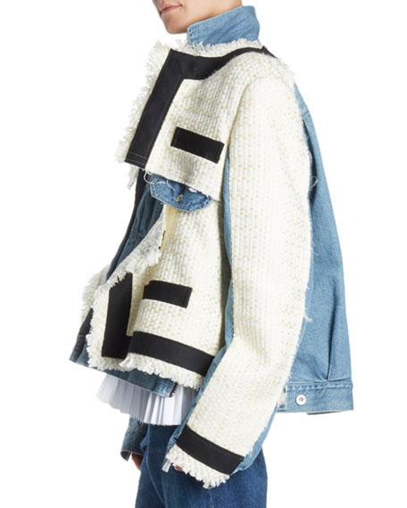 Tweed and Denim Jacket w/ Fringe Trim