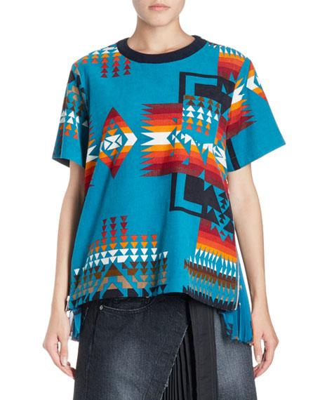 Pleated-Sides Crewneck Short-Sleeve Ikat-Print Top