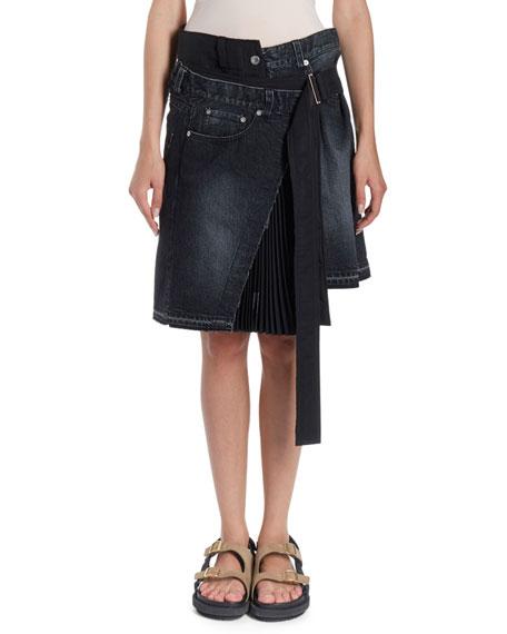 Asymmetric Pleated Wrap Denim Skirt