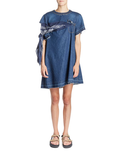 Bandana-Tie Round-Neck Short Denim Shift Dress