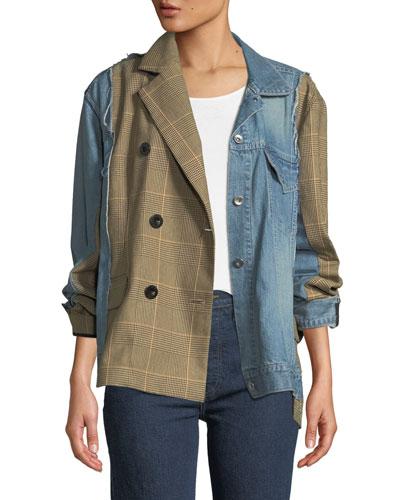 Mixed-Media Denim Glen-Check Jacket