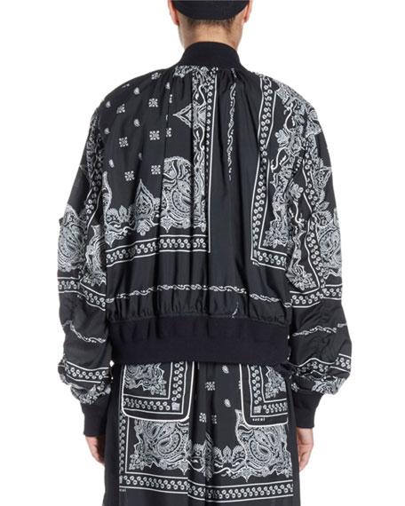 Bandana-Print Zip-Front Bomber Jacket