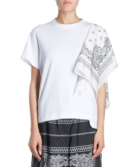 SACAI Bandana-Sleeve One-Pocket Crewneck Short-Sleeve Cotton Tee