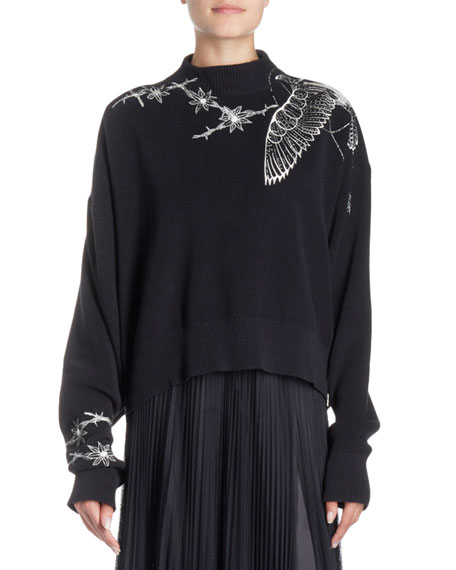 Floral-Embroidered Mock-Neck Pullover Sweater
