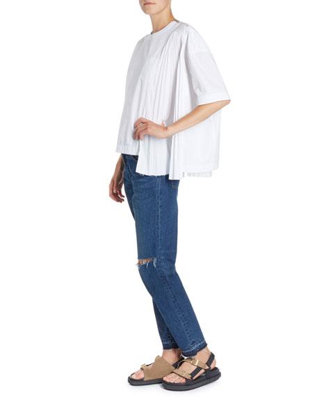 Pleated-Panel Crewneck Short-Sleeve Cotton Poplin Shirt