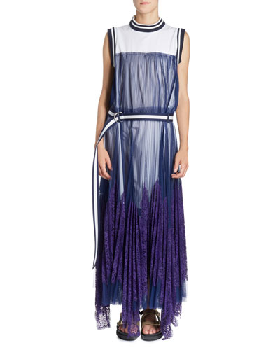 Striped-Border Sleeveless Pleated Tulle Overlay Long Dress