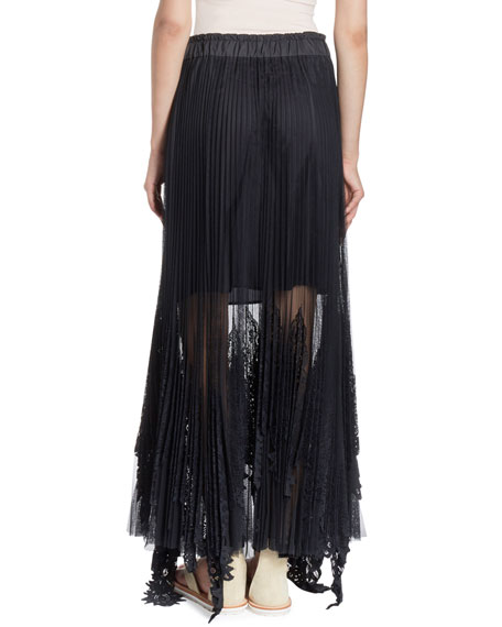 Pleated-Lace Maxi Skirt