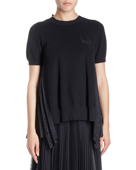 SACAI Crewneck Short-Sleeve Lace-Back Knit Top