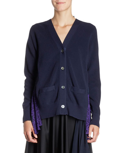 Pleated Tulle-Back Knit Cardigan