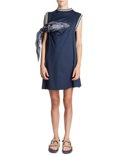 Bandana-Tie Crewneck Sporty Shift Cotton Dress