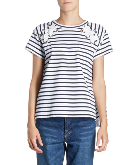 SACAI Lace-Up Grommet Striped Crewneck Short-Sleeve Knit Tee