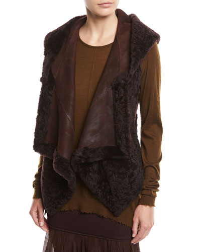 Hooded Suede & Shearling Vest