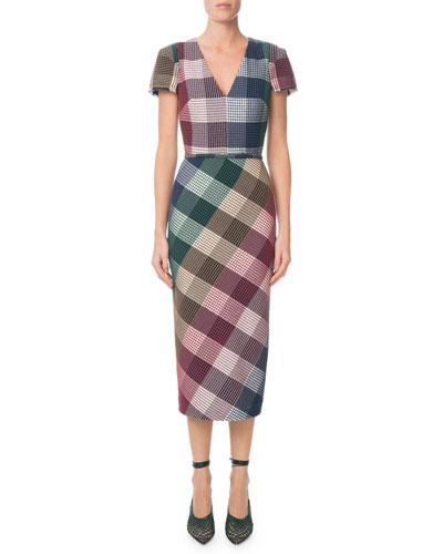 Chaney V-Neck Cap-Sleeve Plaid Sheath Midi Dress