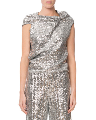 Sequined Draped Tie-Back Top
