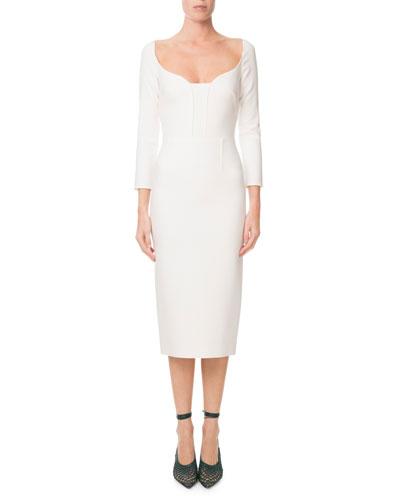 Long-Sleeve Viscose Crepe Midi Dress