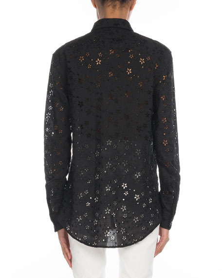 3e844c77 Saint Laurent Star-Embroidered Eyelet Button-Front Blouse