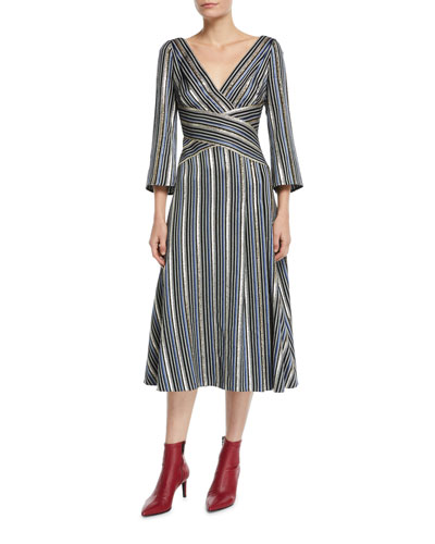 3/4-Sleeve Shimmer-Striped Midi Dress