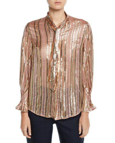 Shimmer-Striped Chiffon Tie-Neck Blouse
