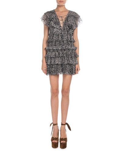 Animal-Print Lace-Up Ruffle-Tiered Dress