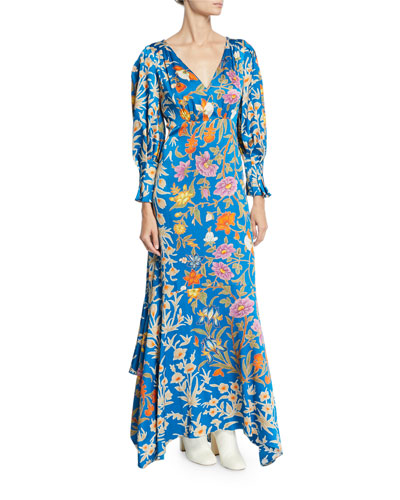 Floral V-Neck Handkerchief Maxi Dress