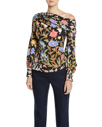 One-Shoulder Floral-Print Waffle-Knit Blouse