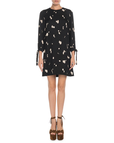 Crewneck Paint-Splatter Tie-Sleeve Mini Dress