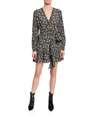 Long-Sleeve Heart-Print Silk Tie-Waist Mini Dress