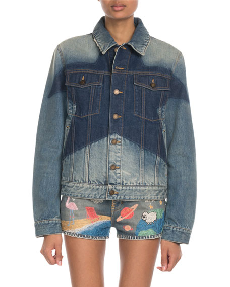 Star-Washed Oversize Denim Jacket