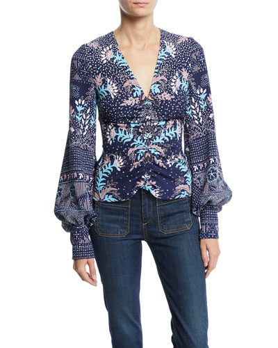 Long-Sleeve Floral-Print V-Neck Blouse