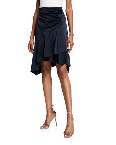 Draped Asymmetric Satin Skirt