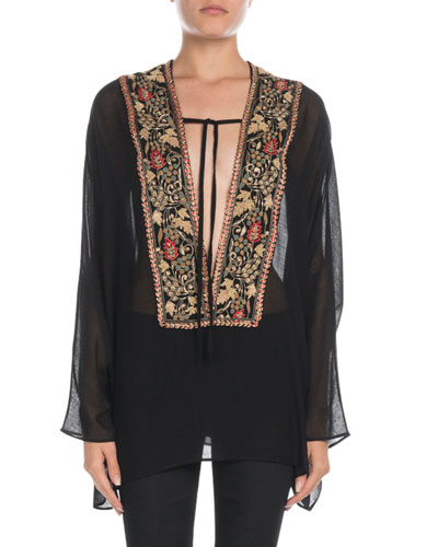Embroidered Tie-Neck Sheer Boho Blouse