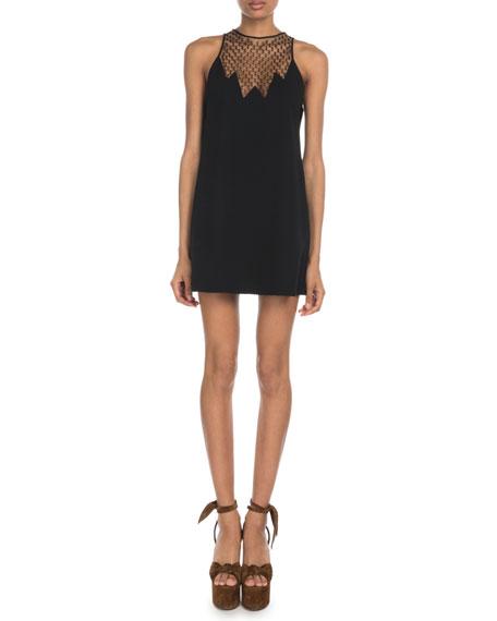 Sleeveless Logo-Mesh Yoke Halter Mini Dress