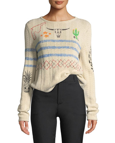 Ribbed Western-Motif Sweater