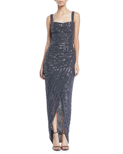Square-Neck Sleeveless Sequin Wrap-Skirt Evening Gown